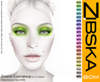 Zibska BOM Pack ~ Zosime Eyemakeup in 21 colors with tattoo and universal tattoo BOM layers