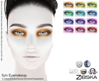 Zibska ~ Sylv Eyemakeup in 12 colors with Lelutka, Genus, LAQ, Catwa and Omega appliers and tattoo layers