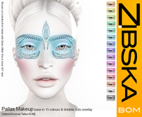 Zibska BOM Pack ~ Pallas Makeup Base in 15 colors and tintable dots overlay with tattoo and universal tattoo BOM option