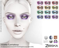 Zibska ~ Violetta Eyemakeup in 12 colors with Lelutka, Genus, LAQ, Catwa