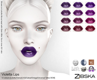 Zibska ~ Violetta Lips in 12 colors with Lelutka, Genus, LAQ, Catwa and Omega