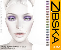 Zibska Bom Pack ~ Tabby Eyemakeup in 18 colors with tattoo and universal tattoo BOM layers