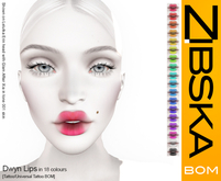 Zibska BOM Pack ~ Dwyn Lips in 18 colors with tattoo and universal tattoo BOM layers
