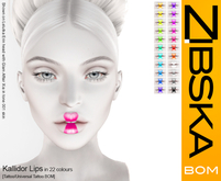 Zibska ~ Kallidor Lips in 22 colors with tattoo and universal tattoo BOM layers