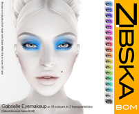 Zibska BOM Pack ~ Gabrielle Eyemakeup in 18 colors in 2 transparencies
