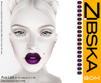 Zibska BOM Pack ~ Ava Lips in 18 colors with 2 fits with tattoo and universal tattoo BOM layers