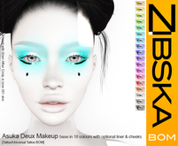 Zibska BOM Pack ~ Asuka Deux makeup in 18 base colors with optional liner and cheek accents in tattoo & universal tattoo