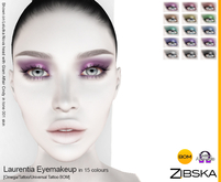 Zibska ~ Laurentia Eyemakeup in 15 colors with Omega appliers, tattoo and universal tattoo BOM layers