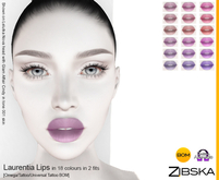 Zibska ~ Laurentia Lips in 18 colors in 2 fits with Omega appliers, tattoo and universal tattoo BOM layers