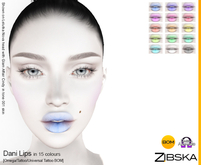 Zibska ~ Dani Lips in 15 colors with Omega appliers, tattoo and universal tattoo BOM layers