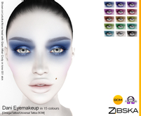Zibska ~ Dani Eyemakeup in 15 colors with Omega appliers, tattoo and universal tattoo BOM layers