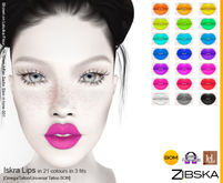 Zibska ~ Iskra Lips in 21 colors in 3 fits with Omega appliers, tattoo and universal tattoo BOM layers