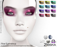 Zibska ~ Fihar Eyemakeup in 12 colors with Lelutka, Genus, LAQ, Catwa and Omega appliers and Universal Tattoo/BOM