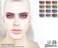 Zibska ~ Verner Makeup in 12 colors with Lelutka, Omega and Universal Tattoo BOM layers