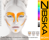Zibska ~ Thetis Makeup in 16 colors with brows, cheeks and chin in separate layers with tattoo & universal tattoo BOM