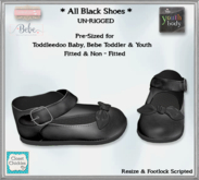 *CC* All Black Shoes (TD Baby/BebeToddler+YOUTH)