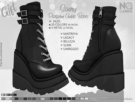 DEMO > NC :: Saory Platform Ankle Boots [HUD]