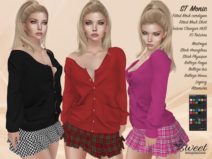 ST :: Monic Outfit for Maitreya Lara, Slink (P, H), Belleza (V,  I, F), Legacy and Altamur. 10 Tex HUD.
