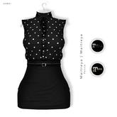 Gawk! Black Vintage Blouse Dress - White Dotted (Mesh)