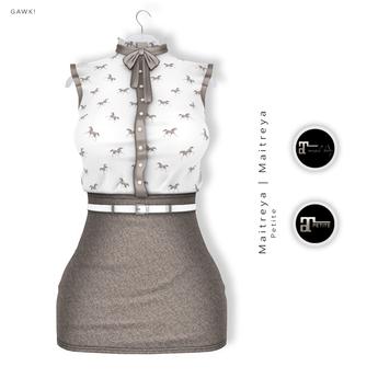 GAWK! Taupe Vintage Blouse Dress   for Maitreya Lara   Maitreya Petite