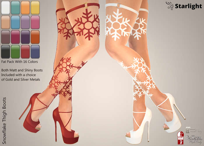 :: AC ::  Snowflake Thigh Boots - Fat Pack