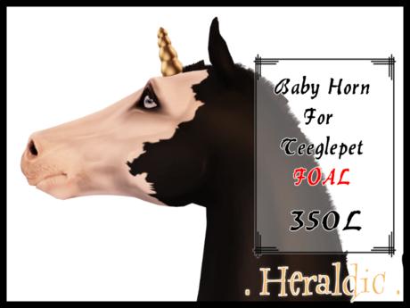 . heraldic . Teeglepet Foal Baby Unicorn Horns
