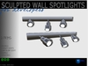 Sculpted full perm wall spotlights - Inside