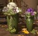 CJ Allium light pink+purple in ceramic Planter 2er