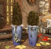 CJ Evergreen Autumn + blue flowers in ceramic Planter 2er