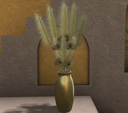 CJ Pampas Grass with Papyrus in golden Vase