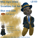 Miss Ing's Dinkie Snowflake Suit Blue and Gold