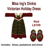Miss Ing's Dinkie Victorian Holiday Dress Red