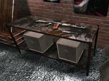 Rusty Metal Shelf With Guns - 1 prim each