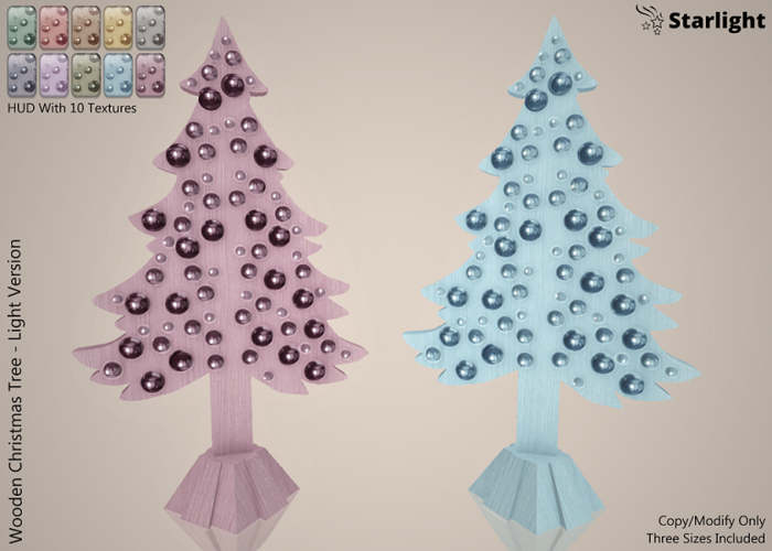 :: SA ::  Wooden Christmas Tree with HUD : Light Version