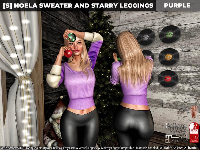 [S] Noela Sweater & Starry Leggings Purple