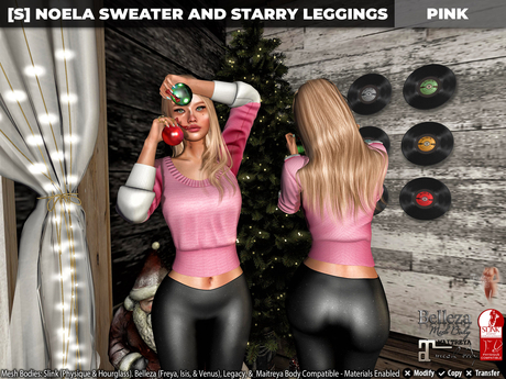 [S] Noela Sweater & Starry Leggings Pink
