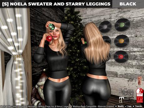 [S] Noela Sweater & Starry Leggings Black