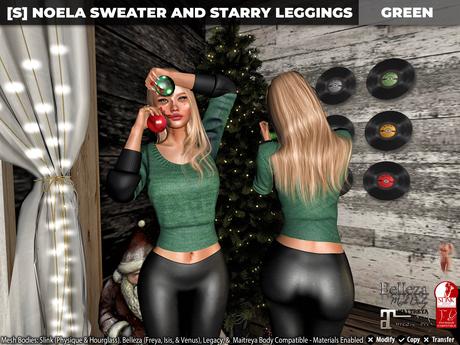 [S] Noela Sweater & Starry Leggings Green
