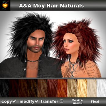 A&A Moy Hair 11 Colors Value Pack. Unisex punk rocker hairstyle
