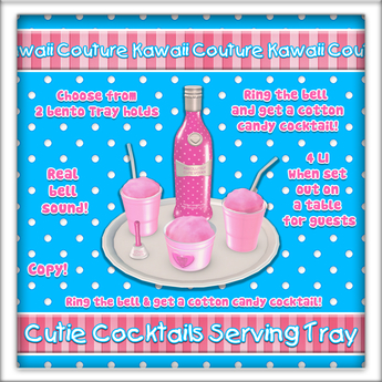 [: Kawaii Couture :] Cutie Cocktails Serving Tray Pink
