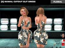 [S] Nawal Cutout Slit Dress Floral