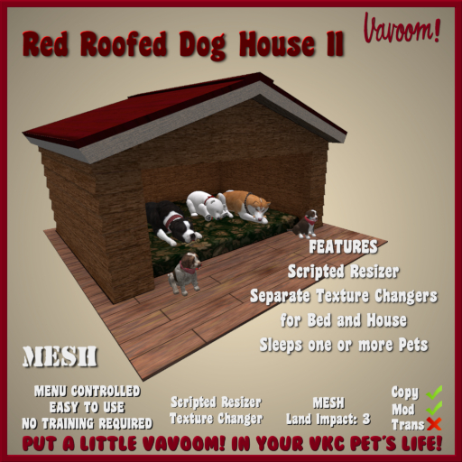 Red Roofed Dog House II by Vavoom! - Accessories and Toys for Virtual Kennel Club (VKC®) Pets - No Training Required