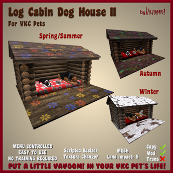 Log Cabin Dog House II by Vavoom! - Accessories and Toys for Virtual Kennel Club (VKC®) Pets - No Training Required