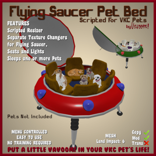Flying Saucer Pet Bed by Vavoom! (Boxed) - Accessories and Toys for Virtual Kennel Club (VKC®) Pets - No Training Requir