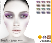 Zibska ~ Zsuzsi Eyemakeup in 12 colors with Omega appliers, tattoo and universal tattoo BOM layers