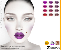 Zibska ~ Zsuzsi Lips in 12 colors in 3 fits with Omega appliers, tattoo and universal tattoo BOM layers
