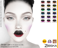 Zibska ~ Zsuzsi Lips in 18 colors in 3 fits with Omega appliers, tattoo and universal tattoo BOM layers