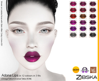 Zibska ~ Adona Lips in 12 colors in 3 fits with Omega appliers, tattoo and universal tattoo BOM layers