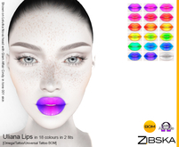 Zibska ~ Uliana Lips in 18 colors in 2 fits with Omega appliers, tattoo and universal tattoo BOM layers