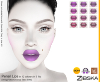 Zibska ~ Pensri Lips in 12 colors in 3 fits with Omega appliers, tattoo and universal tattoo BOM layers